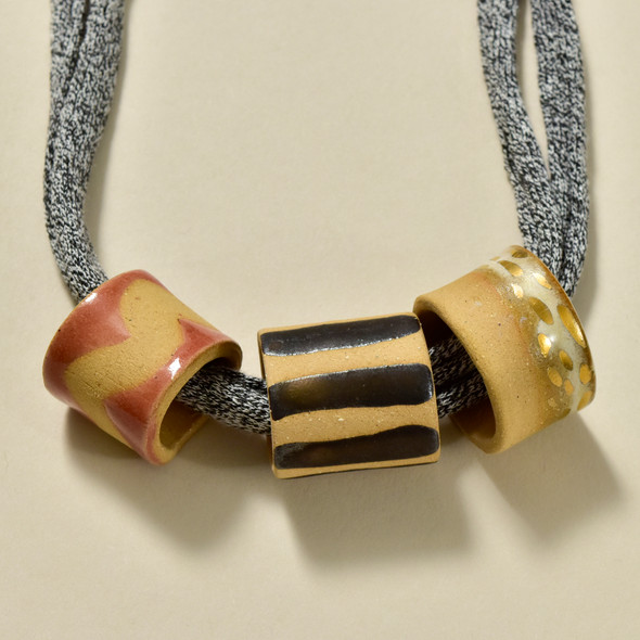 Three Bead Necklace by Curious Clay, close up