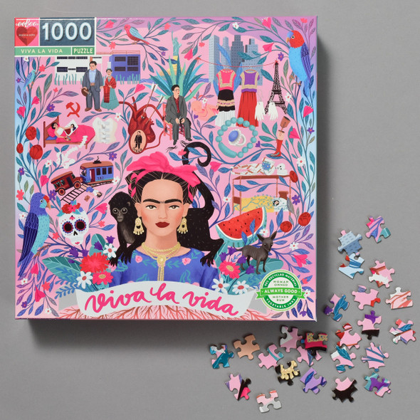 Viva La Frida Puzzle; box with puzzle pieces