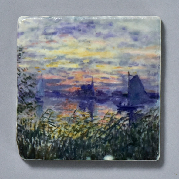 Monet Marine View with a Sunset Tile by The Painted Lily