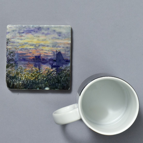 Monet Marine View with a Sunset Tile by The Painted Lily, with mug
