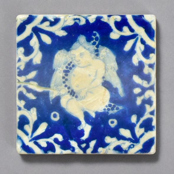 Mexican Tile with a Cherub by The Painted Lily