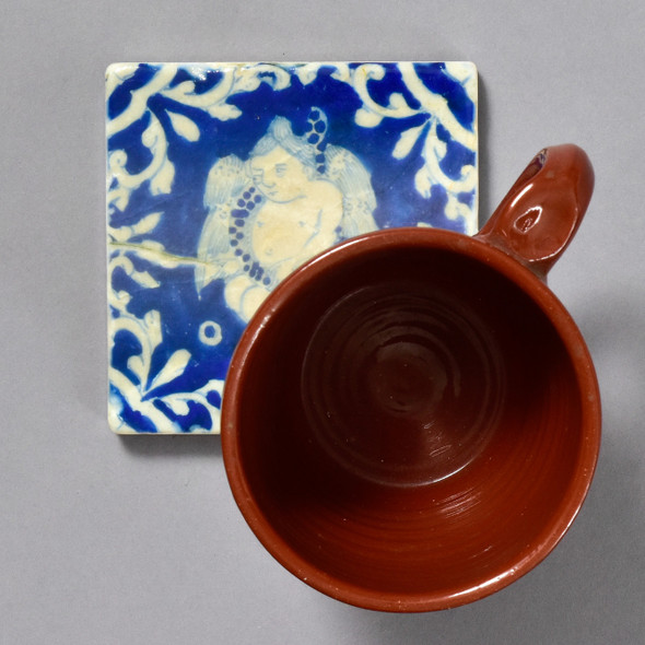 Mexican Tile with a Cherub by The Painted Lily, with mug