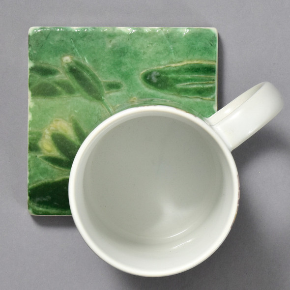 Grueby Faience Lily Pad Tile by The Painted Lily, with mug