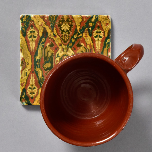 Caucasian Dragon Rug Tile by The Painted Lily, with mug