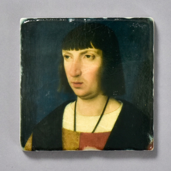 Portrait of a Man Praying Tile by the Painted Lily