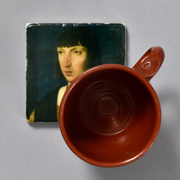 Portrait of a Man Praying Tile by the Painted Lily, with mug