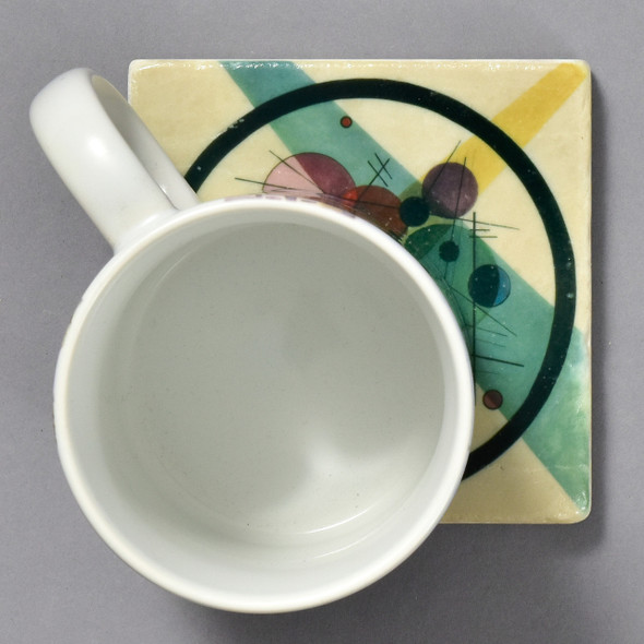 Kandinsky Circles in a Circle Tile by The Painted Lily with mug