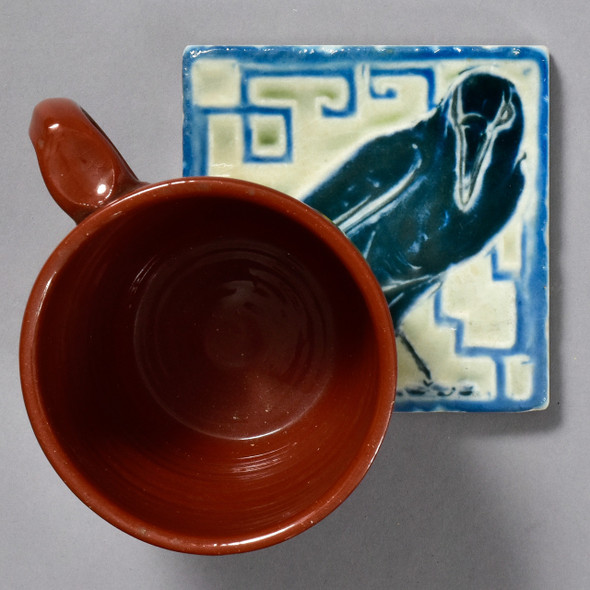 Raven Rookwood Pottery Tile by The Painted Lily, with mug