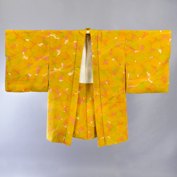 Golden Vintage Japanese Haori Jacket, hanging