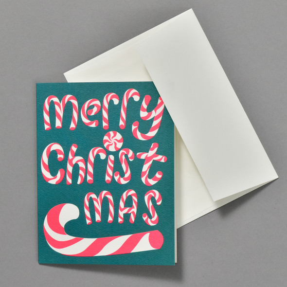 Neon Pink Merry Christmas Candy Canes Holiday Boxed Set, card with envelope