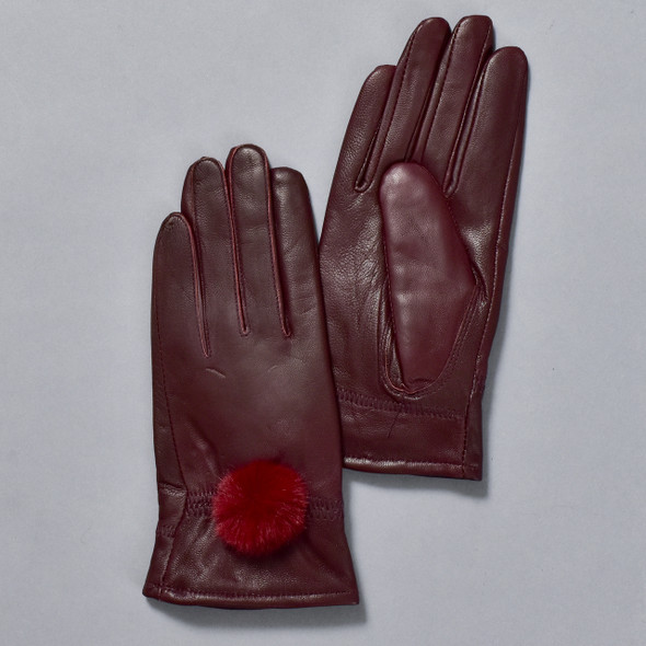 Deep Red Leather Gloves w/ Faux Fur Pom