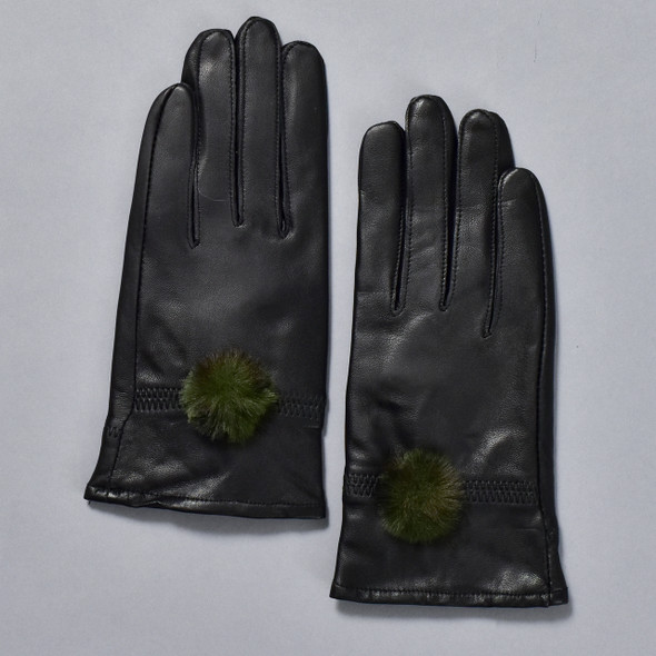 Black Leather Gloves w/ Green Faux Fur Pom