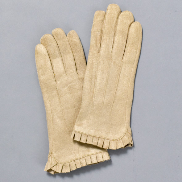 Wrist Ruffle Gloves Tan