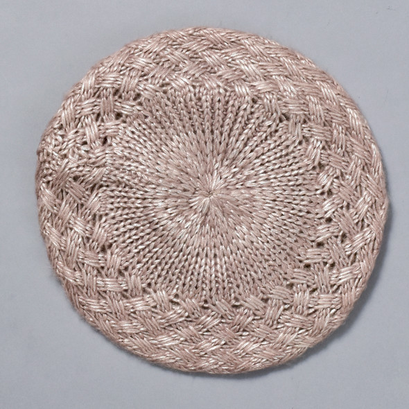 Shiny Woven Beret Taupe