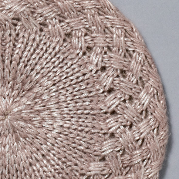 Shiny Woven Beret Taupe; close up