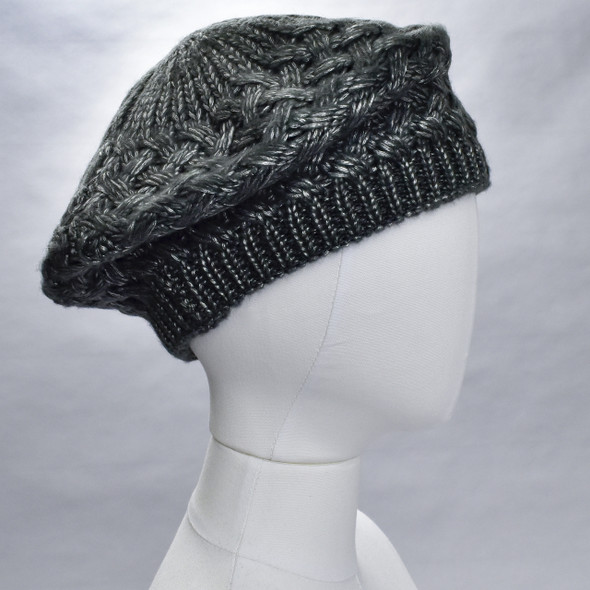 Shiny Woven Beret Charcoal; hat on form, side view