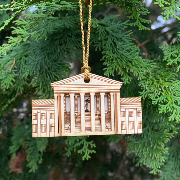 Philadelphia Museum of Art Matchbox Miniature Ornament, hanging in tree