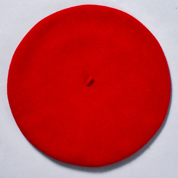 Red Classic French Beret; overhead image