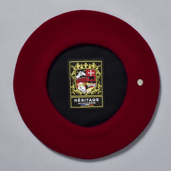 Burgundy Classic French Beret; interior of hat image with sewn in label