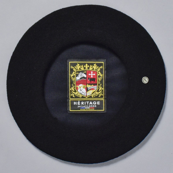 Black Classic French Beret; interior image with sewn in label