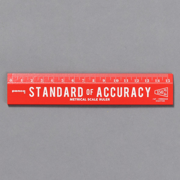 Penco Standard of Accuracy Wooden Ruler, red front