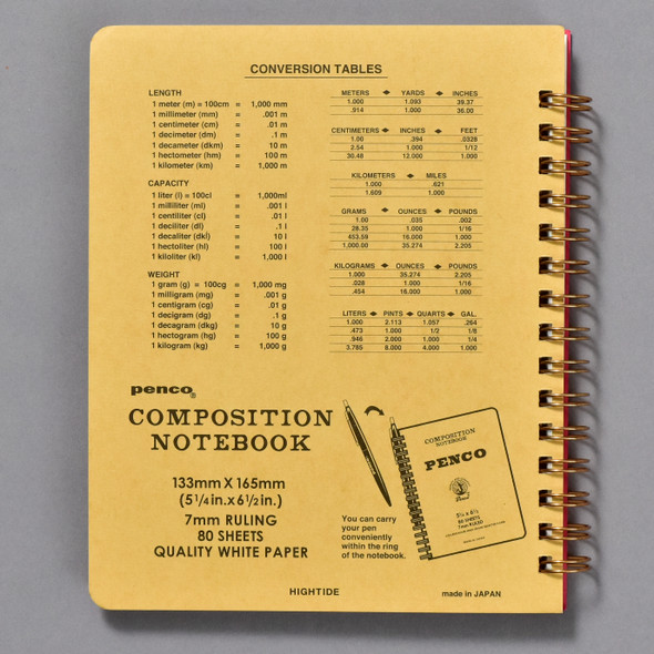 Penco Composition Notebook Red, back cover