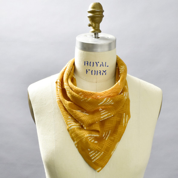 Ochre Pyramids Cotton Bandana; shown on form