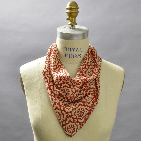 Red Mosaic Cotton Bandana; shown on form
