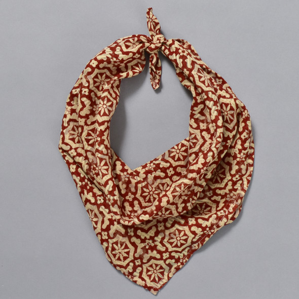 Red Mosaic Cotton Bandana; shown knotted