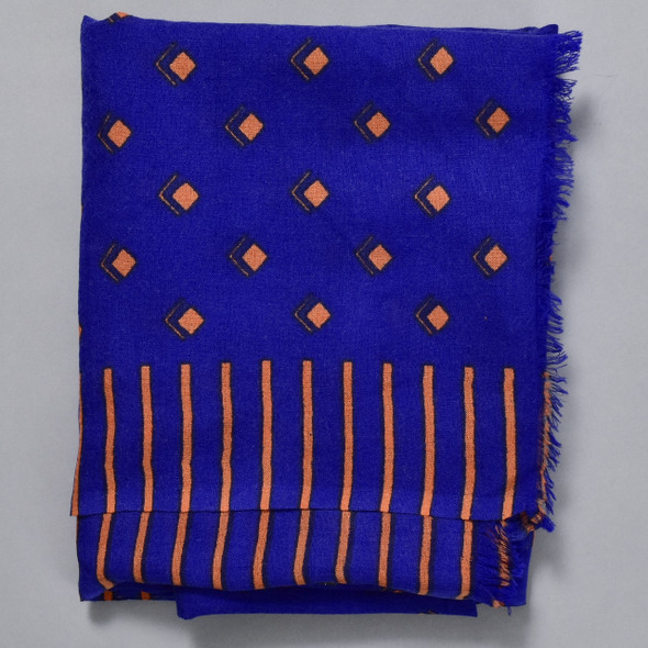 Heartmade Blue Selma Wool & Silk Scarf; detail image