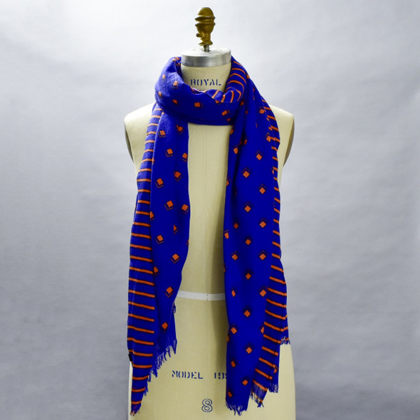 Heartmade Blue Selma Wool & Silk Scarf; scarf on form