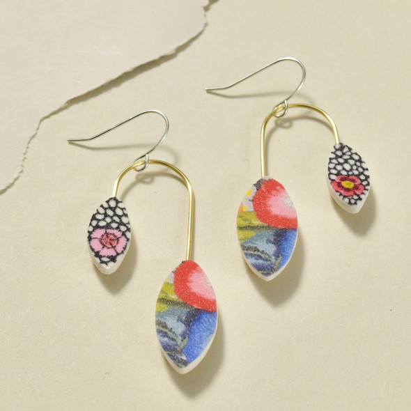 Balanced Leaves Polymer Earrings Multi