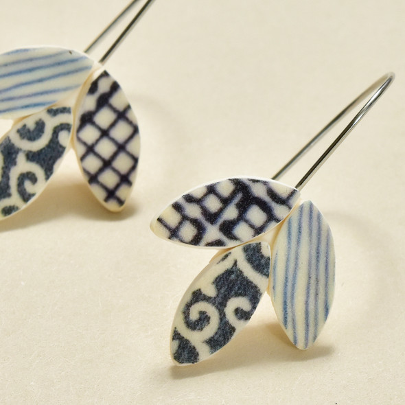 Foliage Polymer Earrings Indigo, close up