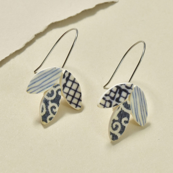 Foliage Polymer Earrings Indigo