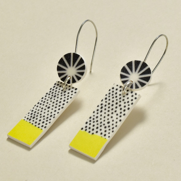 Verbena Polymer Earrings; laying flat at angle