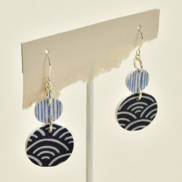 Double Circle Polymer Earrings Indigo; on stand