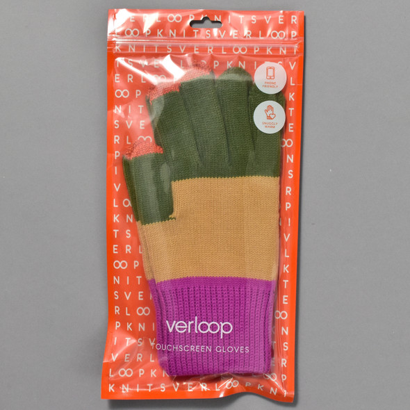 Moss & Camel Colorblock Touchscreen Knit Gloves in package