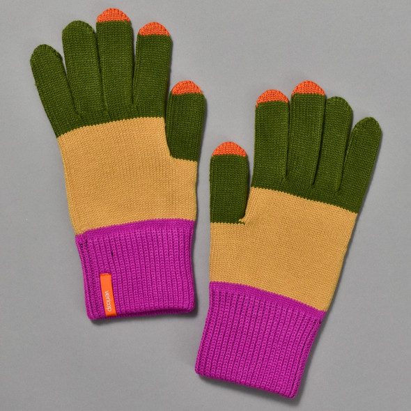 Moss & Camel Colorblock Touchscreen Knit Gloves