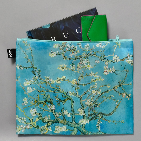 van Gogh Almond Blossoms Zippered Pouch, filled with items