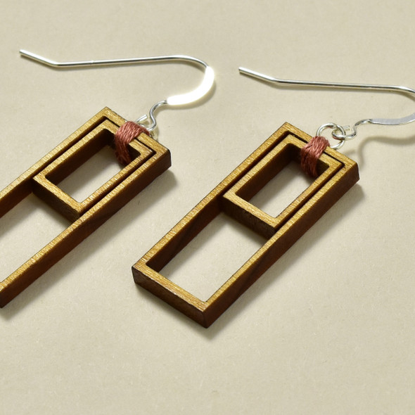 Double Rectangle Wood Earrings by Emaye Design, close up