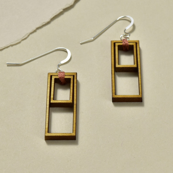 Double Rectangle Wood Earrings by Emaye Design