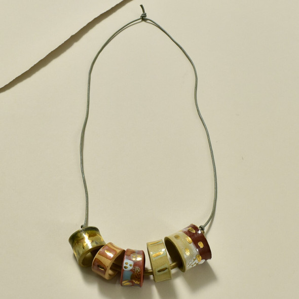 Clay Beads on Brass Bar Necklace by Curious Clay