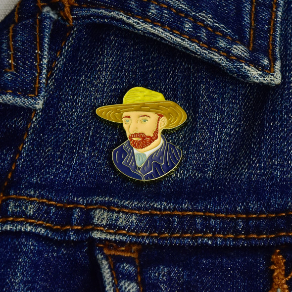 van Gogh Self-Portrait Enamel Pin, on jacket