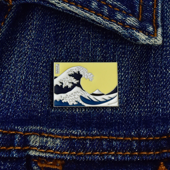 Hokusai The Great Wave Enamel Pin, on jacket