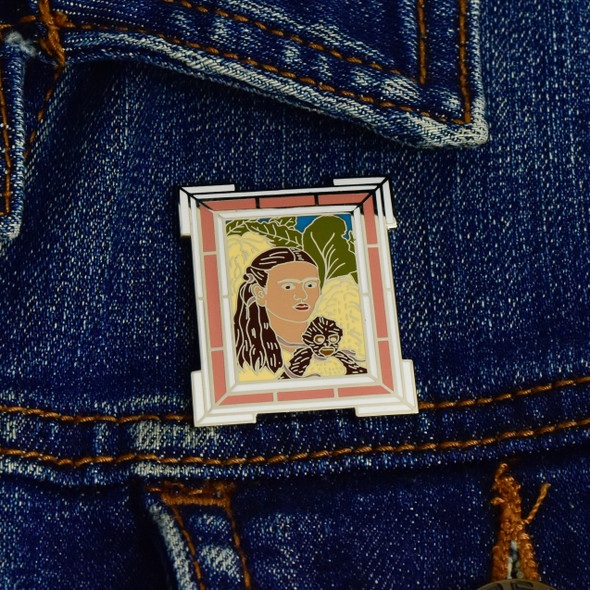 Frida Kahlo Fulang Chang and I Enamel Pin, on jacket