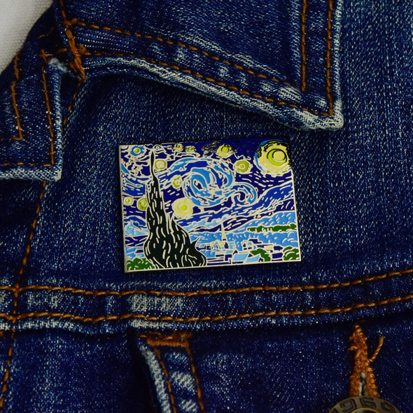 van Gogh The Starry Night Enamel Pin on jacket