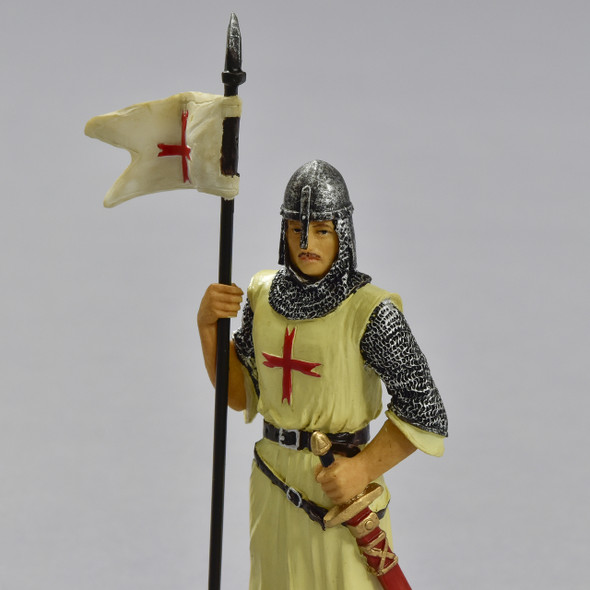 Knights Templar Crusader in Armor Reproduction, close up