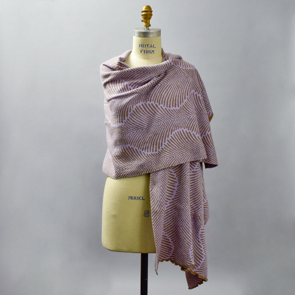 Cotton Shawl Fern Lilac & Pebble, on mannequin