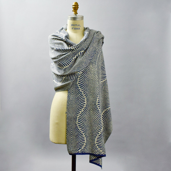Cotton Shawl Fern Indigo & Cream on mannequin