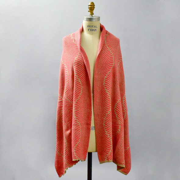 Cotton Shawl Fern Coral & Tan, on mannequin